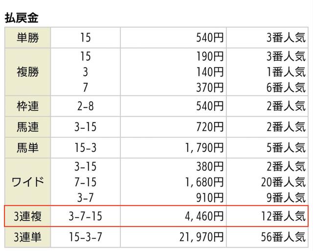 令和ケイバ_無料予想2020年01月05日京都10Rの払戻金