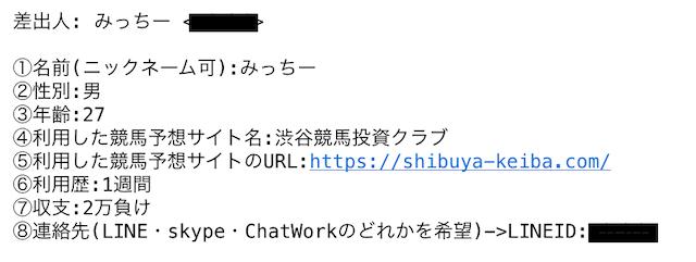 渋谷競馬投資クラブの利用者プロフィール