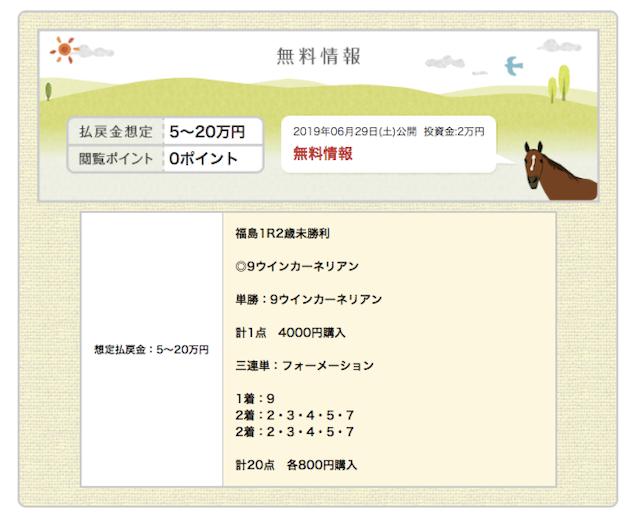 金馬券の無料予想2019年06月29日福島01R