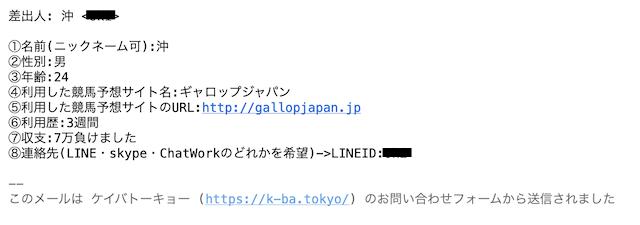 ギャロップジャパンの利用者プロフィール
