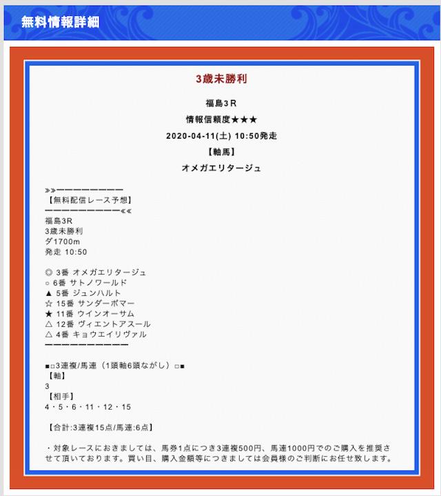 競馬WAVEの無料予想2020年04月11日福島03R