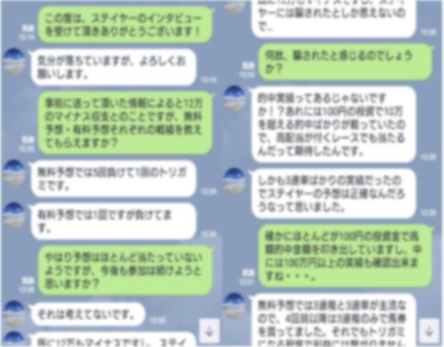 投資競馬専門サイト_ステイヤーの利用者とのLINE画像
