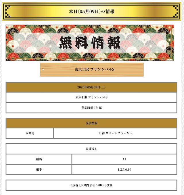 金馬舎の無料予想2020年05月09日東京11R