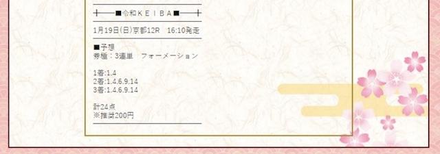 令和競馬の有料情報_SPAK_2020年1月19日京都12R