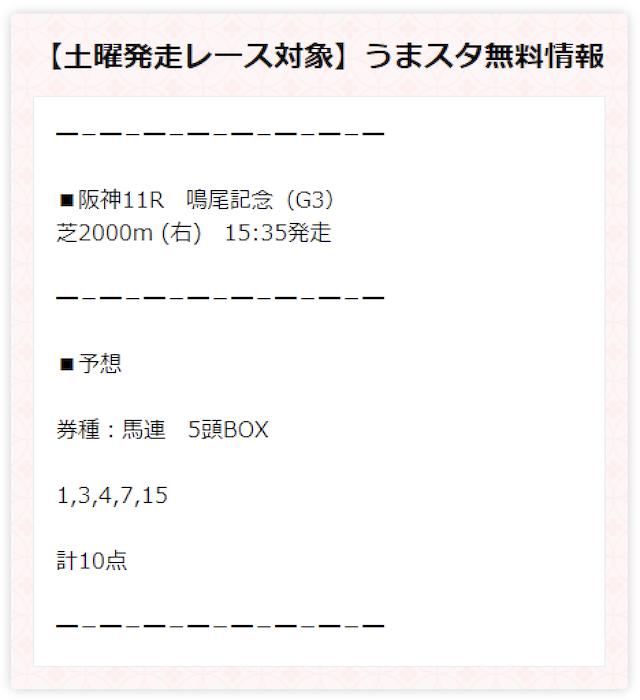 うまスタの無料予想2020年06月06日阪神11R